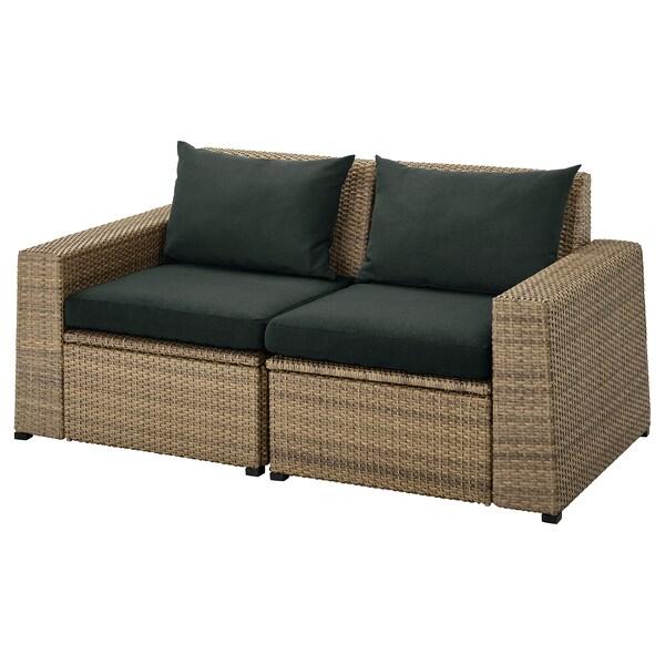 SOLLERÖN 2er-Sitzelement/außen, braun/Hållö schwarz, 161x82x82 cm