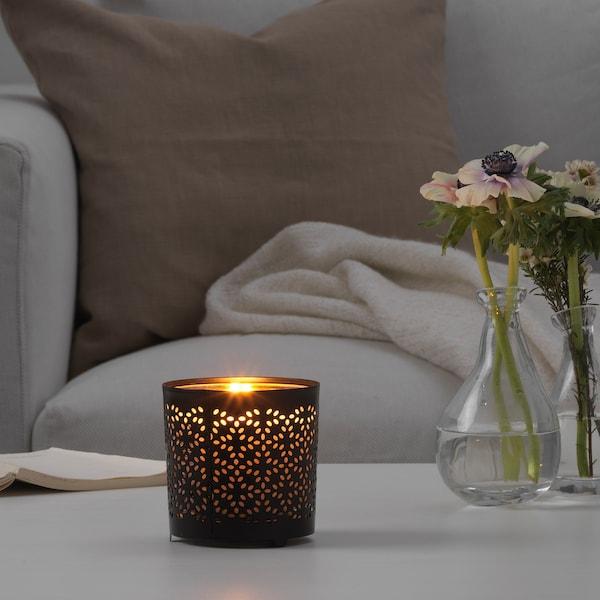 STABBIG Deko für Kerze im Glas, schwarz, 9 cm