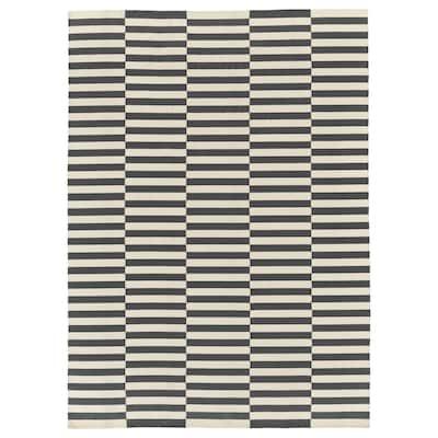 STOCKHOLM 2017 Teppich flach gewebt Handarbeit/gestreift grau 350 cm 250 cm 8.75 m²