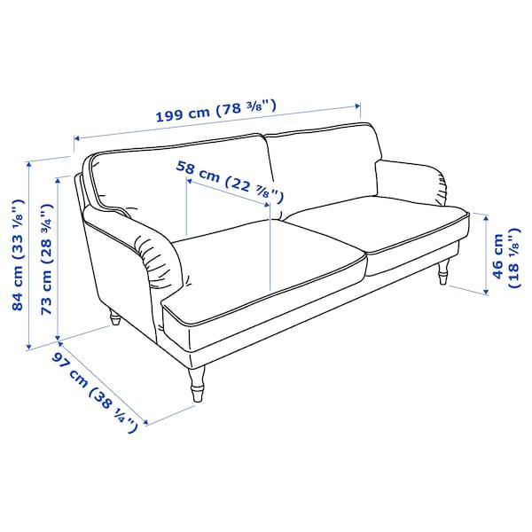 STOCKSUND 3er-Sofa, Nolhaga dunkelgrün/schwarz/Holz