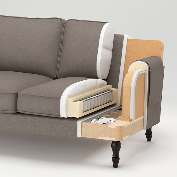 STOCKSUND 3er-Sofa, Nolhaga graubeige/hellbraun/Holz