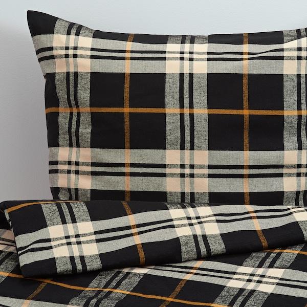 STRIMKLÖVER Bettwäscheset, 3-teilig, schwarz/braun Karo, 240x220/50x60 cm