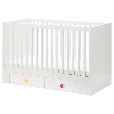 STUVA / FÖLJA Babybett mit Schubfächern weiß 146 cm 74 cm 92 cm 70 cm 140 cm 20 kg