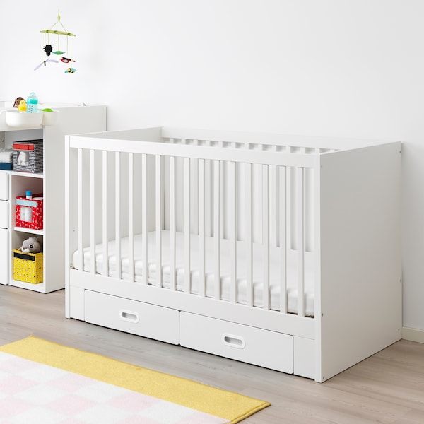 STUVA / FRITIDS Babybett mit Schubfächern weiß 146 cm 74 cm 92 cm 70 cm 140 cm 20 kg