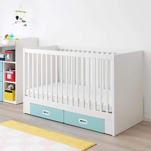 STUVA / FRITIDS Babybett mit Schubfächern hellblau 146 cm 74 cm 92 cm 70 cm 140 cm 20 kg