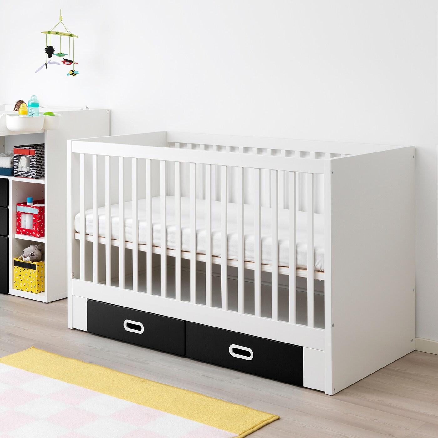STUVA / FRITIDS Babybett mit Schubfächern Kreidetafeloberfläche 146 cm 74 cm 92 cm 70 cm 140 cm 20 kg