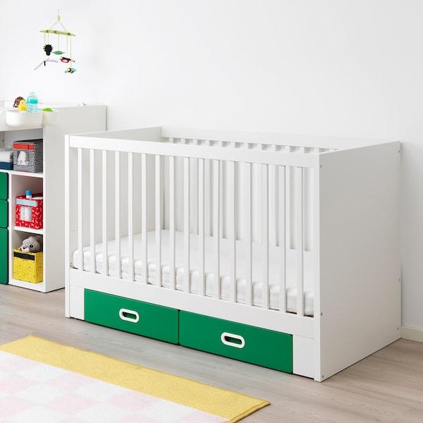 STUVA / FRITIDS Babybett mit Schubfächern grün 146 cm 74 cm 92 cm 70 cm 140 cm 20 kg