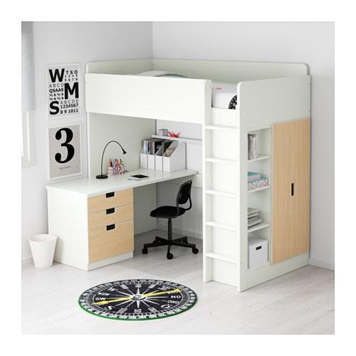Ikea kinderhochbett mit schreibtisch  STUVA Hochbettkomb. 3 Schubl./2 Türen - weiß - IKEA