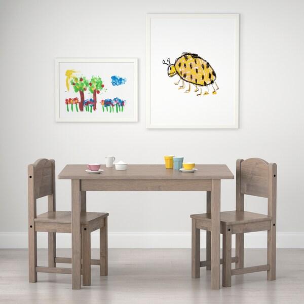 SUNDVIK Kindertisch, grau/hellgrau, 76x50 cm
