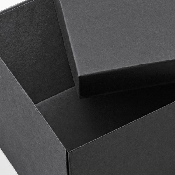 TJENA Kasten mit Deckel, schwarz, 18x25x15 cm