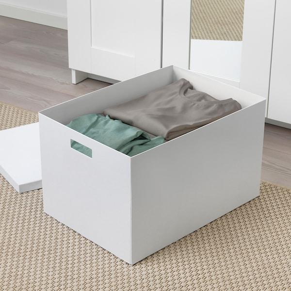 TJENA Kasten mit Deckel, weiß, 35x50x30 cm