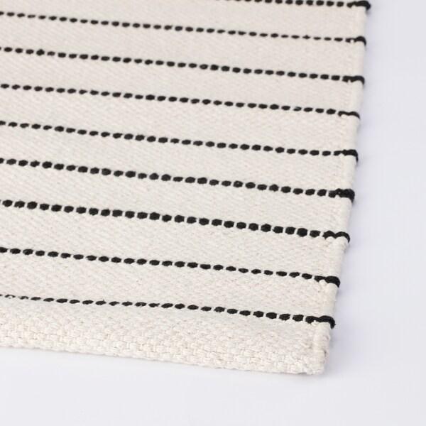 TÖRSLEV Teppich flach gewebt Streifen weiß/schwarz 150 cm 80 cm 1.20 m² 1900 g/m²