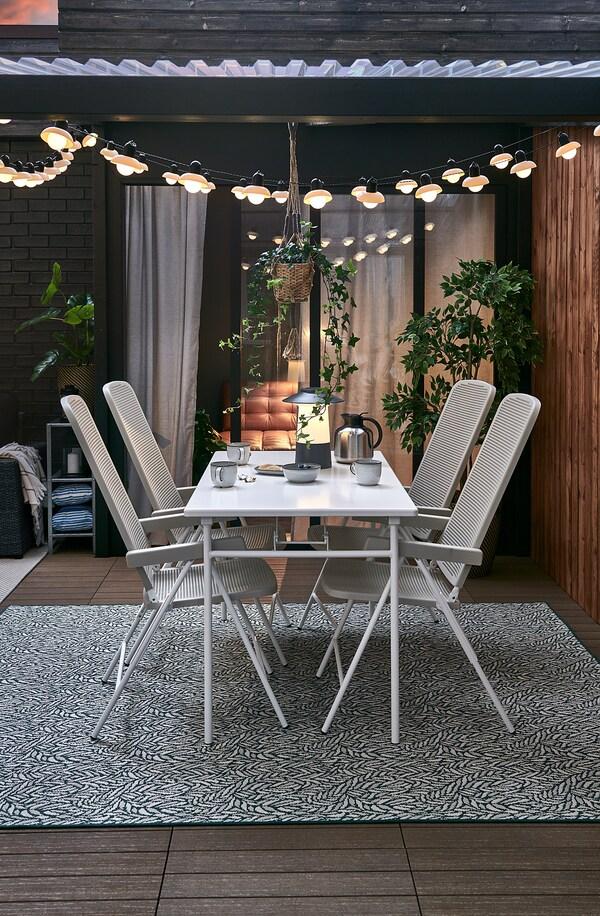 TORPARÖ Tisch/außen, weiß/faltbar, 130x74 cm