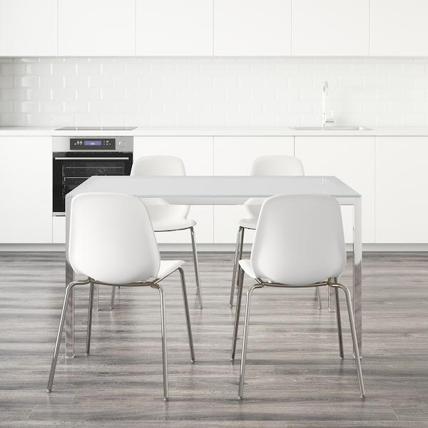 TORSBY / LEIFARNE Tisch und 4 Stühle, Glas weiß/weiß, 135 cm