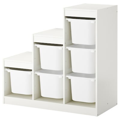 TROFAST Aufbewahrung mit Boxen, weiß, 99x44x94 cm