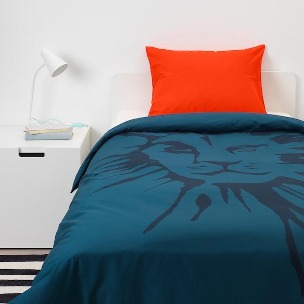 URSKOG Bettwäscheset, 2-teilig Löwe/dunkelblau 200 cm 150 cm 50 cm 60 cm