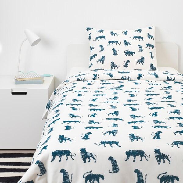 URSKOG Bettwäscheset, 2-teilig Tiger/blau 200 cm 150 cm 50 cm 60 cm