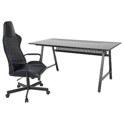 UTESPELARE Gamingschreibtisch und -stuhl, schwarz