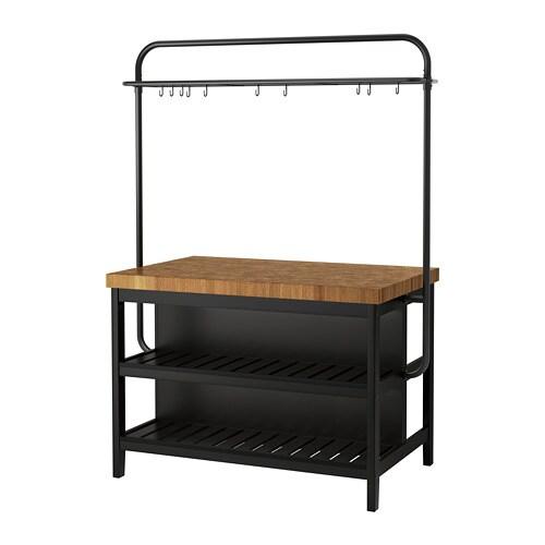 VADHOLMA Kücheninsel mit Gestell, schwarz, Eiche - IKEA