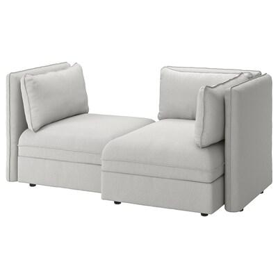 VALLENTUNA 2er-Sitzelement mit Bettsofa, mit Stauraum/Orrsta hellgrau