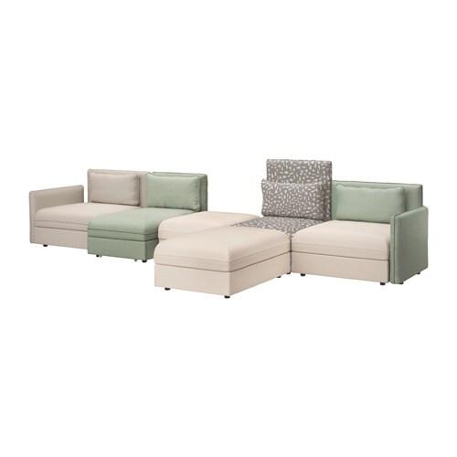 vallentuna 5er sofa mit liege murum beige hillared gr n. Black Bedroom Furniture Sets. Home Design Ideas