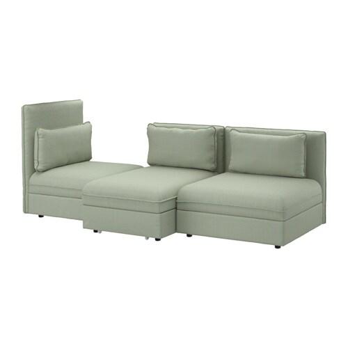 vallentuna 3er sofa mit liege hillared gr n ikea. Black Bedroom Furniture Sets. Home Design Ideas
