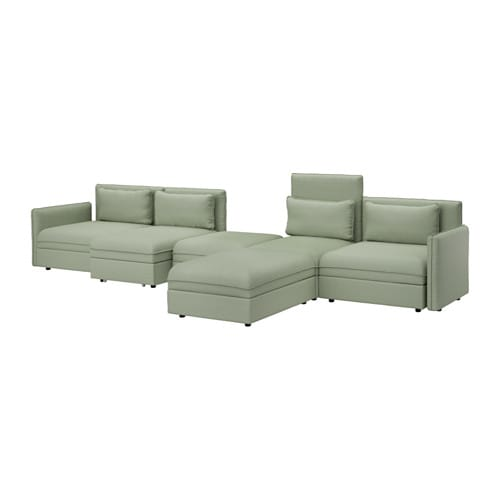 vallentuna 5er sofa mit liege hillared gr n ikea. Black Bedroom Furniture Sets. Home Design Ideas