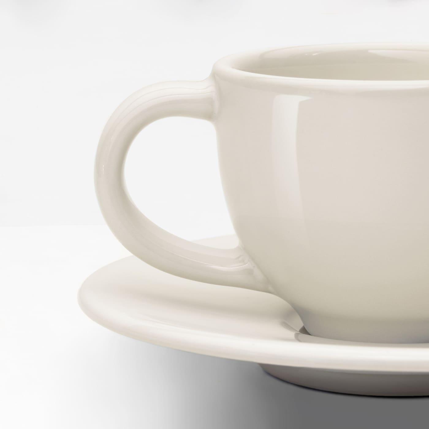 VARDAGEN Espressotasse mit Untertasse elfenbeinweiß 11 cm 6 cm 5 cm 6 cl