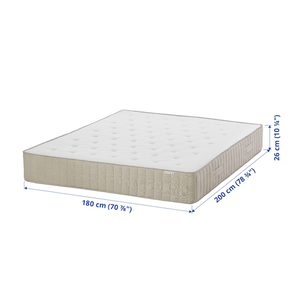 VATNESTRÖM Taschenfederkernmatratze, fest/natur, 180x200 cm