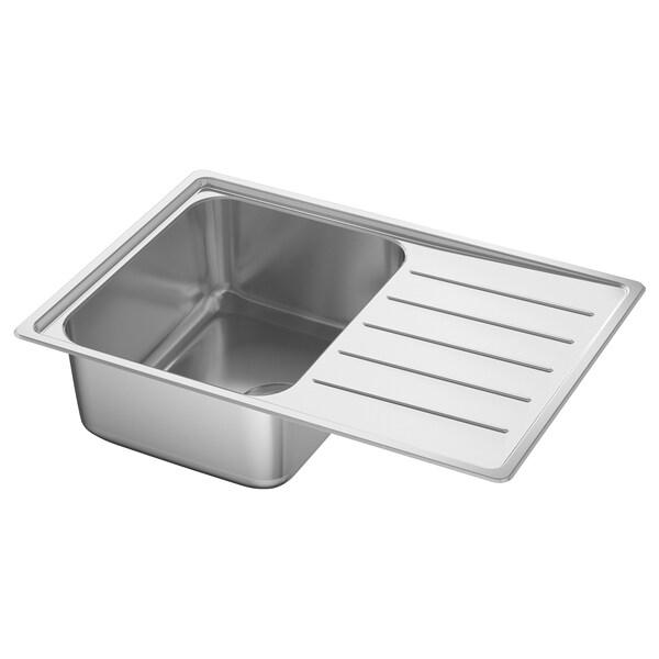 VATTUDALEN Einbauspüle, 1 Becken/Abtropffläche, Edelstahl für Maßarbeitsplatte Laminat, 69x47 cm