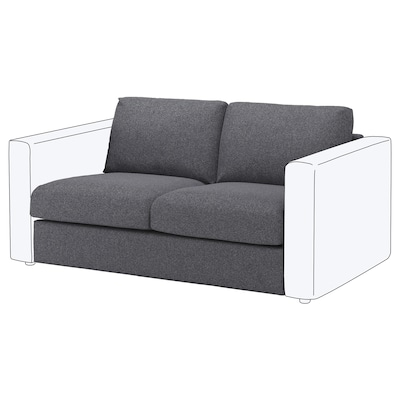 VIMLE Sitzelement 2 Gunnared mittelgrau 80 cm 66 cm 141 cm 98 cm 4 cm 141 cm 55 cm 45 cm