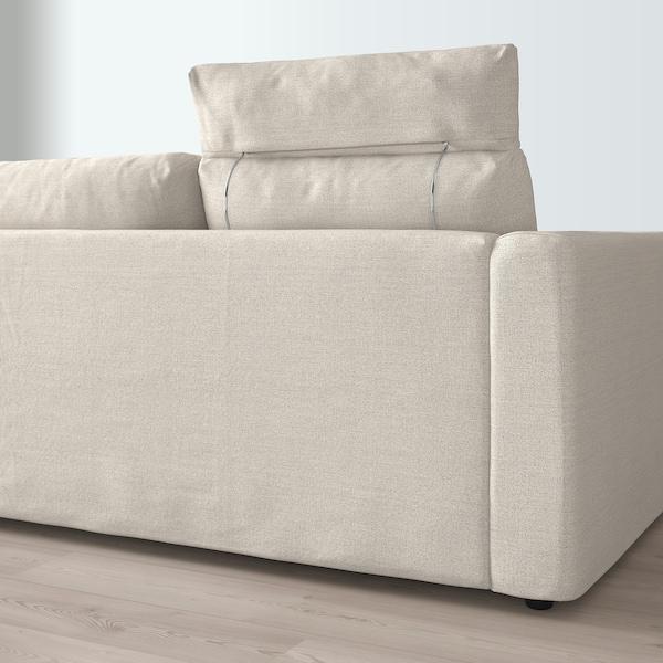 VIMLE 3er-Sofa, mit Nackenkissen/Gunnared beige