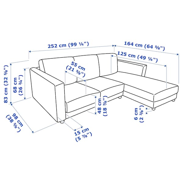 VIMLE 3er-Sofa, mit Récamiere/Gunnared mittelgrau