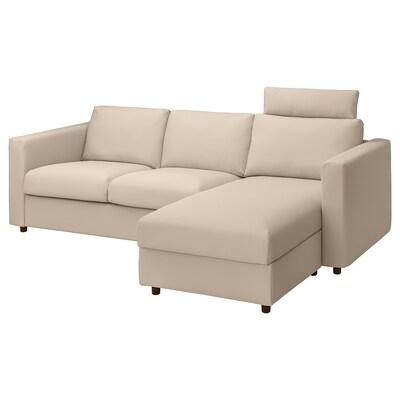 VIMLE 3er-Sofa mit Récamiere, mit Nackenkissen/Hallarp beige