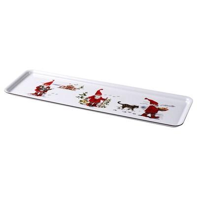 VINTER 2020 Tablett, Weihnachtsmannmuster weiß/rot, 50x16 cm