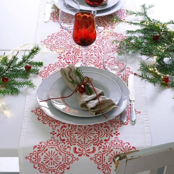 VINTER 2020 Tischläufer, Medaillons weiß/rot, 35x130 cm