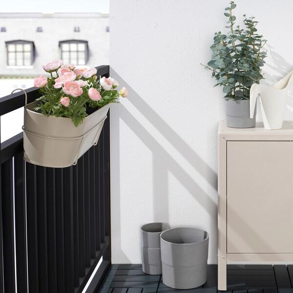 VITLÖK Blumenkasten mit Halter, drinnen/draußen beige, 56x20 cm