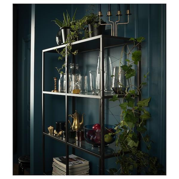 VITTSJÖ Regal, schwarzbraun/Glas, 100x175 cm