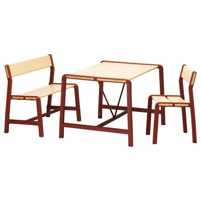 YPPERLIG Kindertisch mit Bank und Stuhl