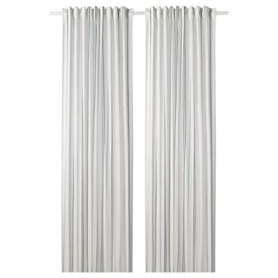 ÄDELSPINNARE Curtains, 1 pair, white/striped, 145x300 cm