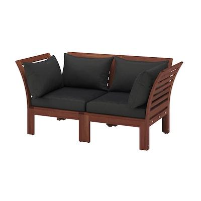 ÄPPLARÖ 2-seat modular sofa, outdoor, brown stained/Hållö black, 160x80x78 cm