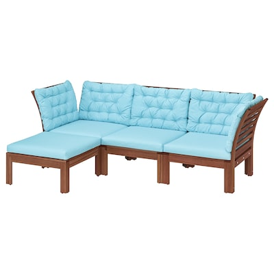 ÄPPLARÖ 3-seat modular sofa, outdoor with footstool brown stained/Kuddarna light blue 80 cm 80 cm 223 cm 143 cm 57 cm 36 cm