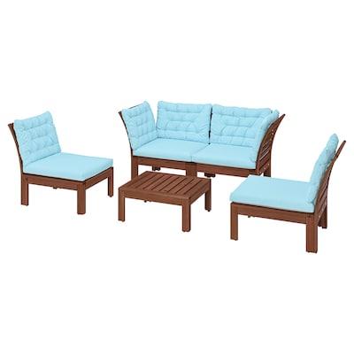 ÄPPLARÖ 4-seat conversation set, outdoor brown stained/Kuddarna light blue