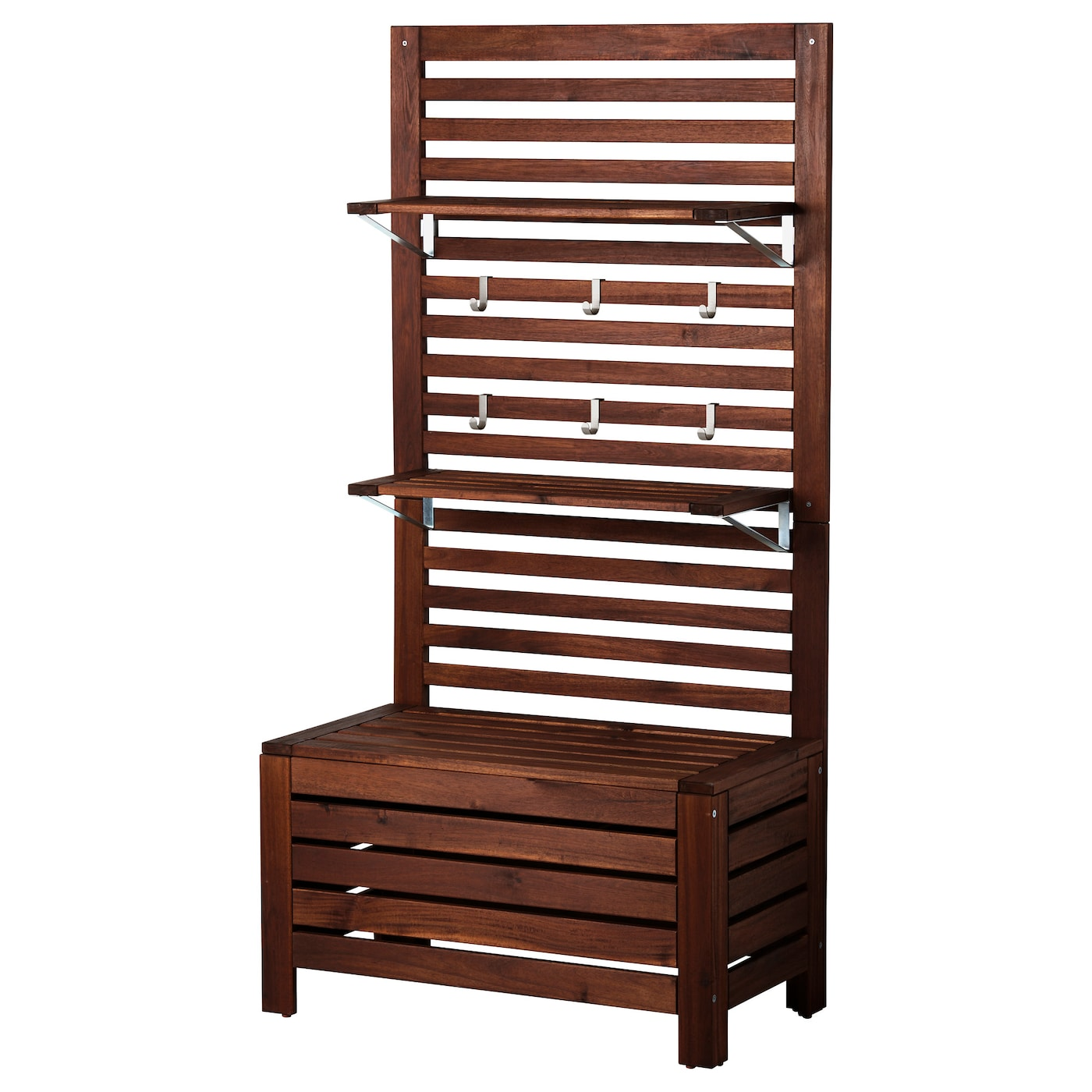 Applaro Bench W Panel Shelves Outdoor Brown Stained Ikea