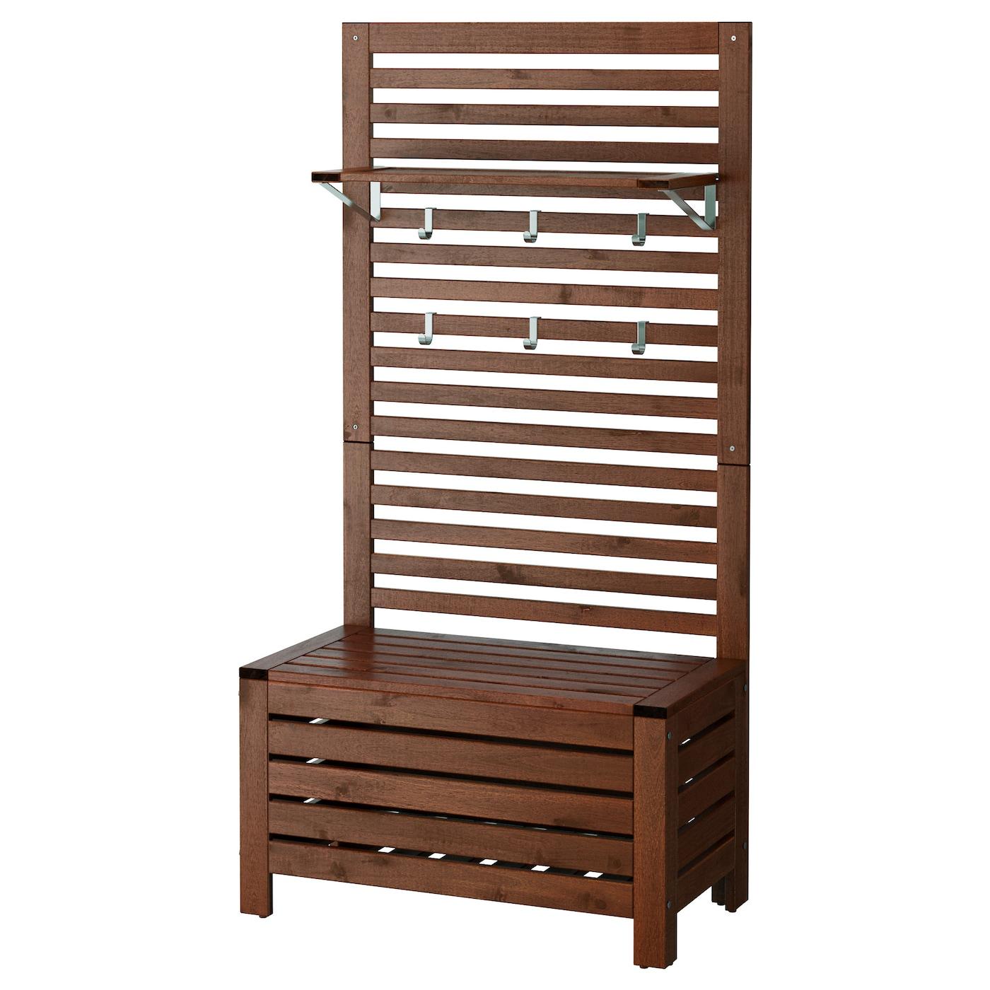 Mensole In Legno Ikea ÄpplarÖ bench w wall panel+ shelf, outdoor - brown stained 80x44x158 cm