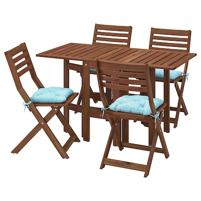 ÄPPLARÖ Table+4 folding chairs, outdoor, brown stained/Kuddarna light blue