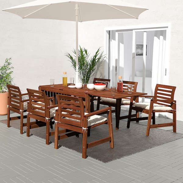 ÄPPLARÖ Table+6 chairs w armrests, outdoor, brown stained/Kuddarna beige