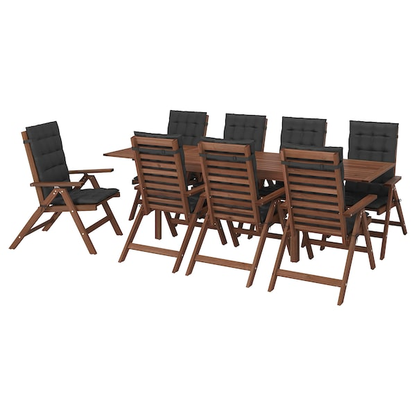ÄPPLARÖ Table+8 reclining chairs, outdoor, brown stained/Hållö black