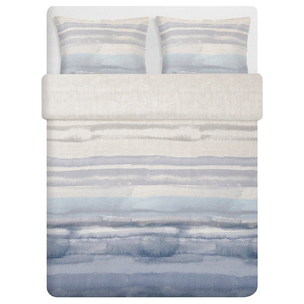 ALPDRABA Quilt cover and 2 pillowcases, blue/stripe, 240x220/50x60 cm