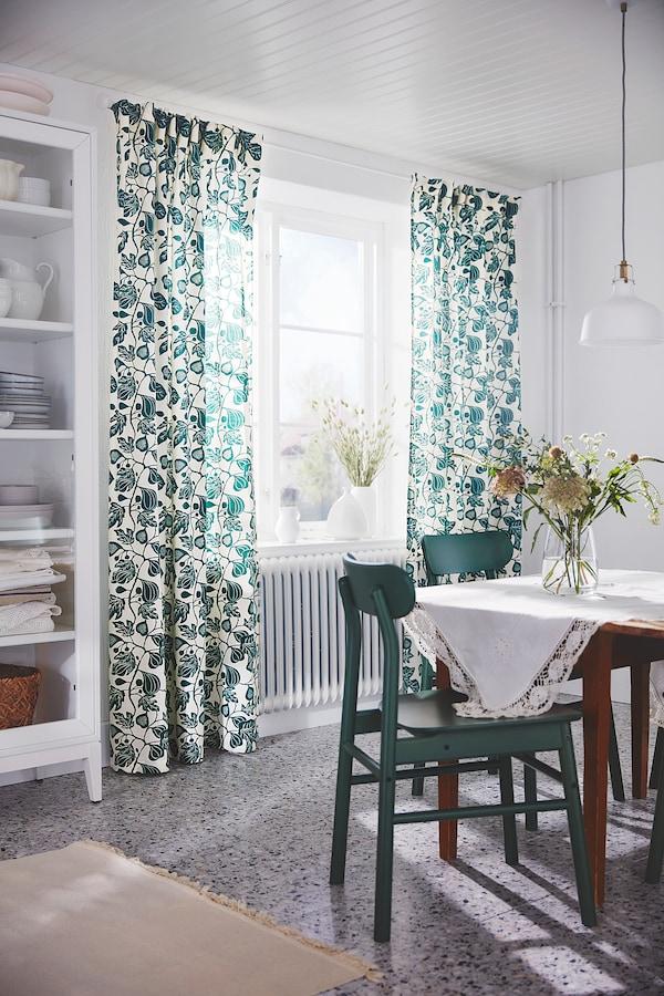 ALPKLÖVER Curtains, 1 pair, white/dark green, 145x300 cm